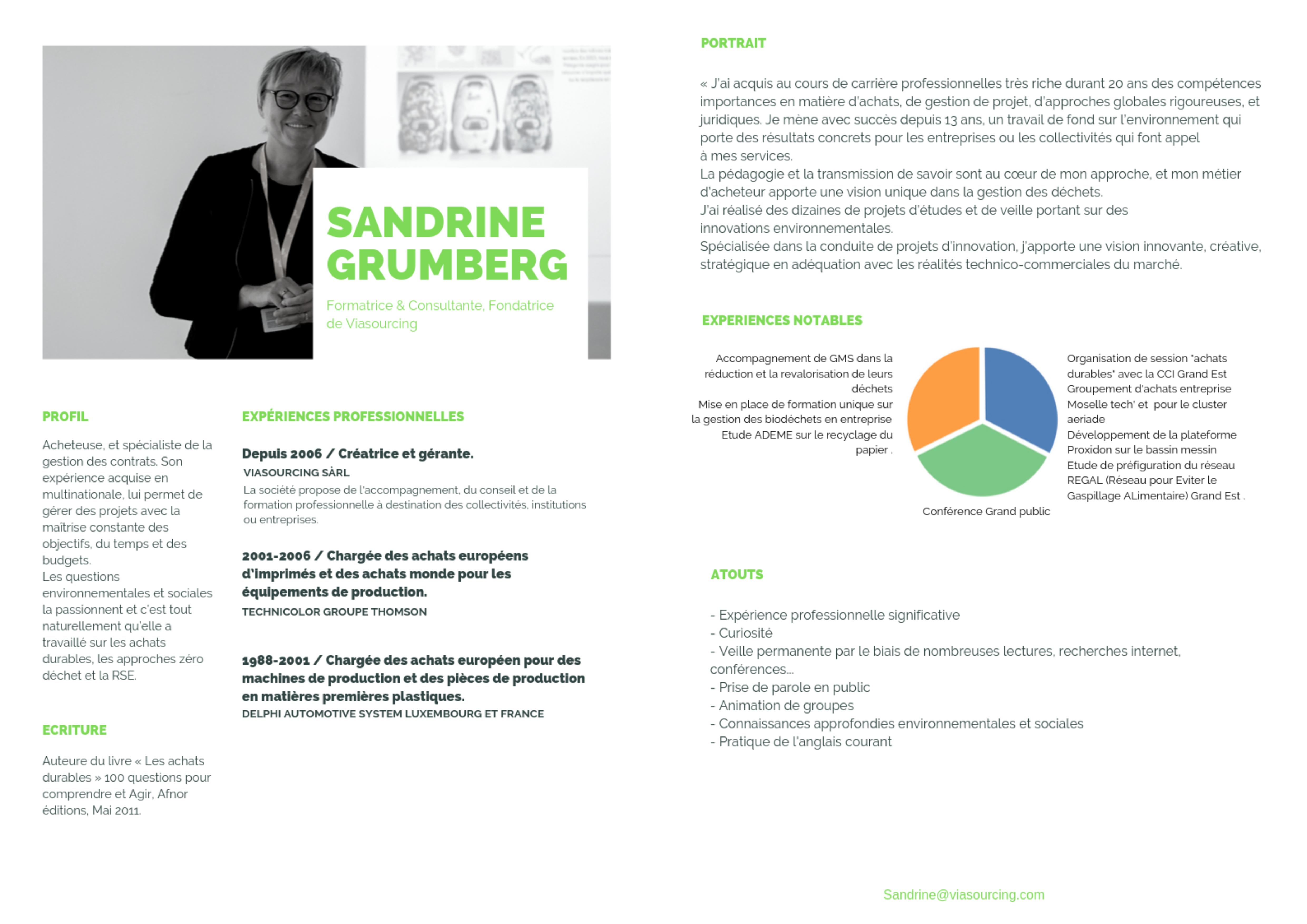 CV sandrine grumberg présentation chef de projet acheteuse